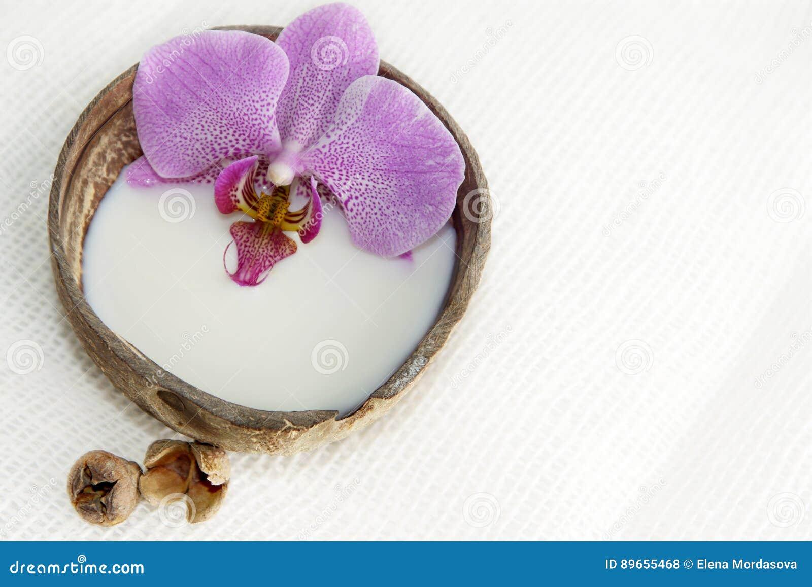 Flor no leite em um coco em um fundo claro, preparação para um tratamento dos termas, atmosfera de relaxamento da orquídea, cartã