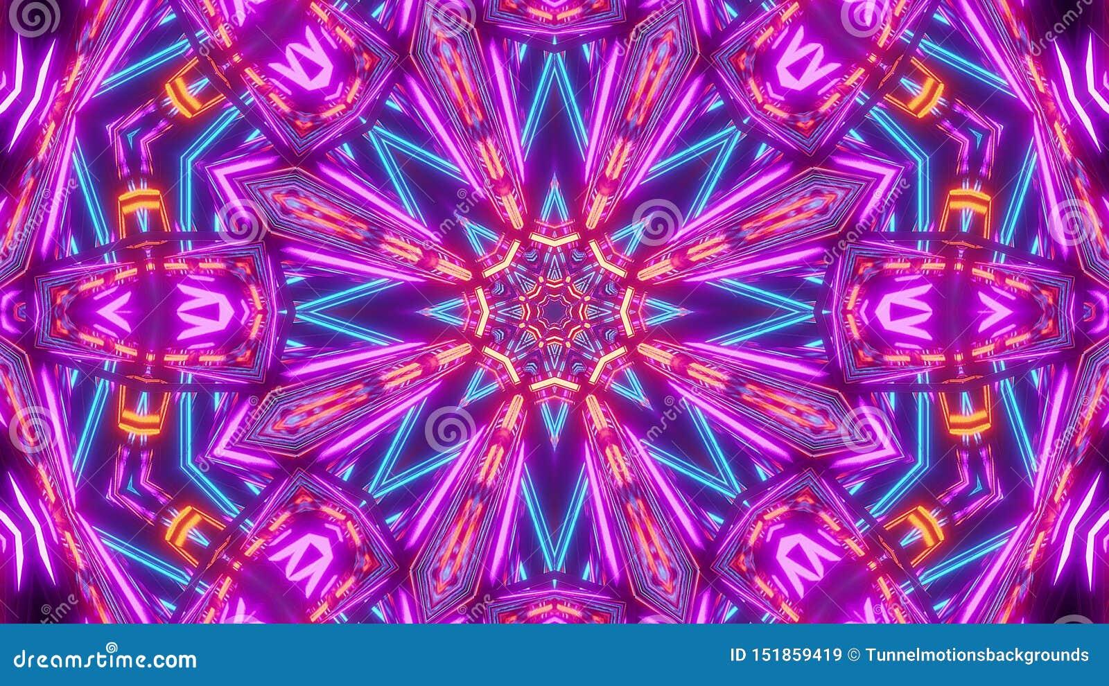 Flor roja azul del kalaidoscope del scifi con el modelo que brilla intensamente