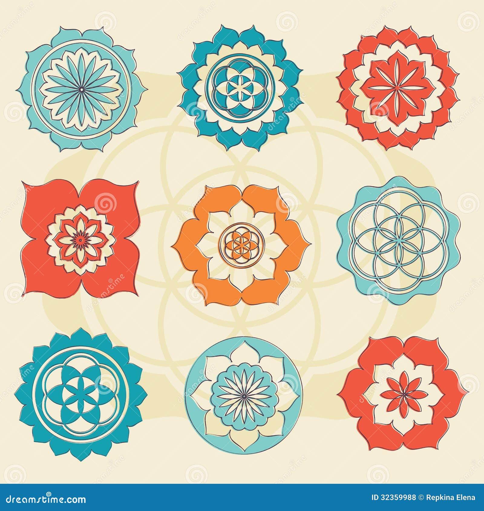 Flor sagrada de la geometría de los símbolos de la vida