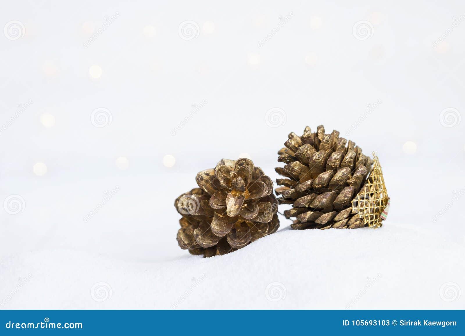 Flor seca do cone do pinho pintada no ouro na areia branca