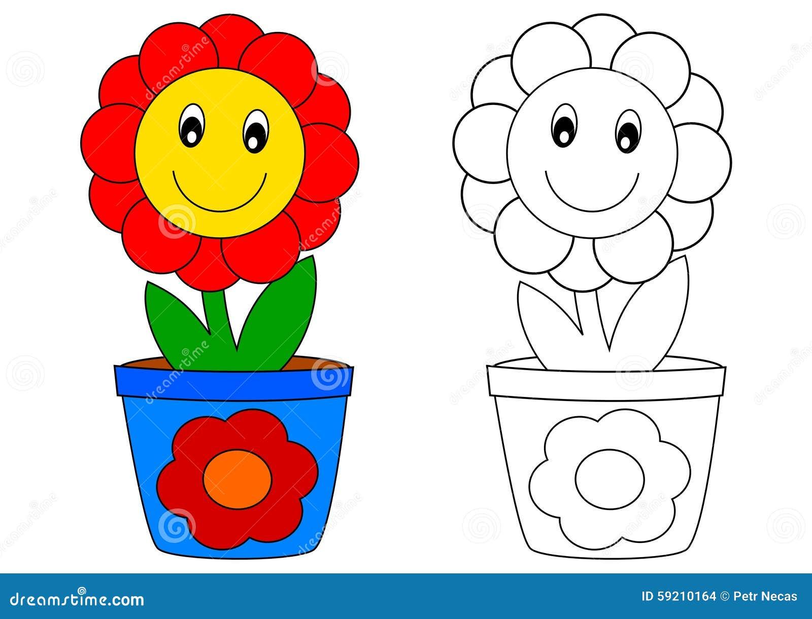 Flor Vermelha No Potenciometro Azul Livro Para Colorir