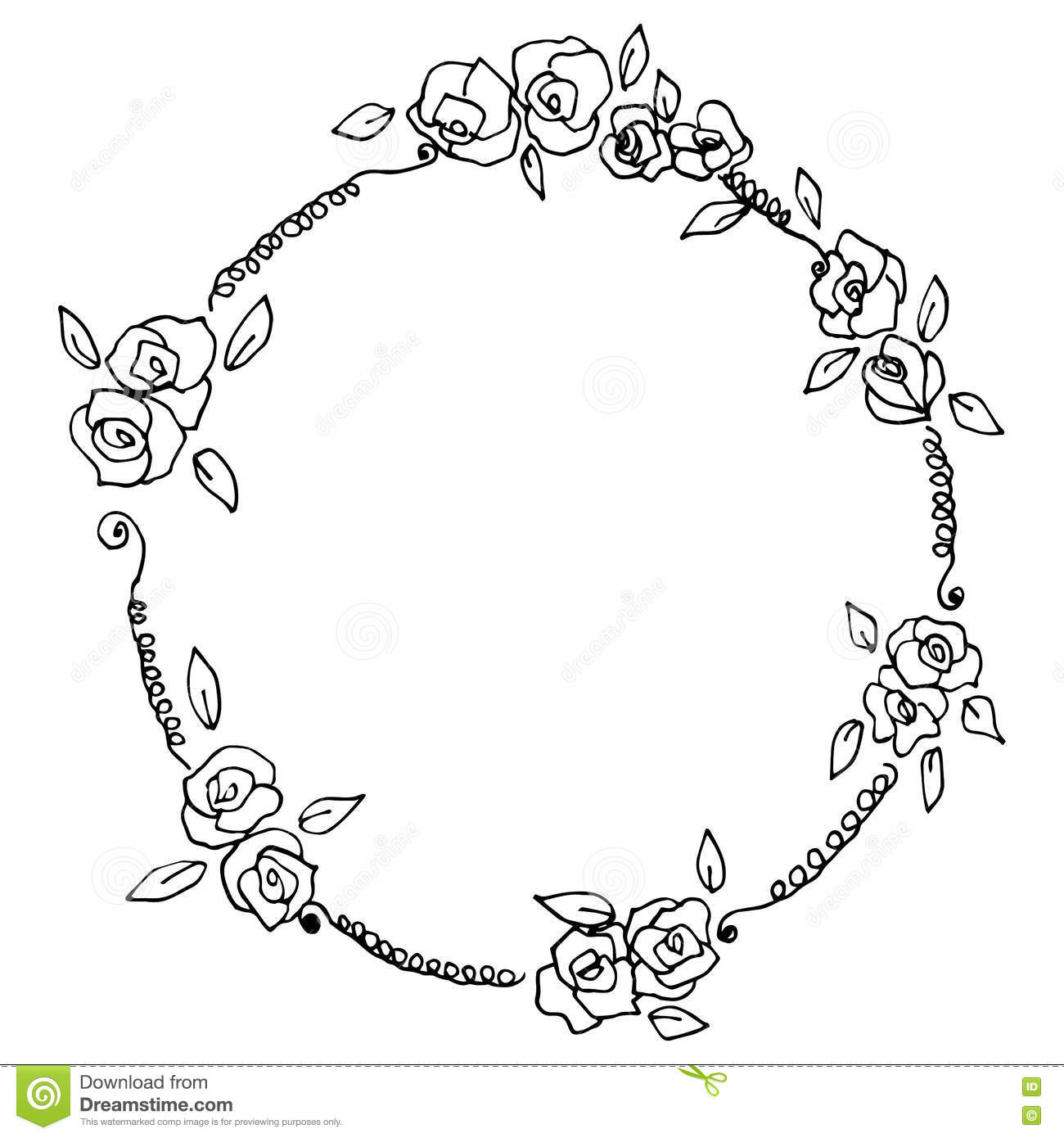 Flower Circle Line Drawing : Flora circle frame flowers wreath vintage style