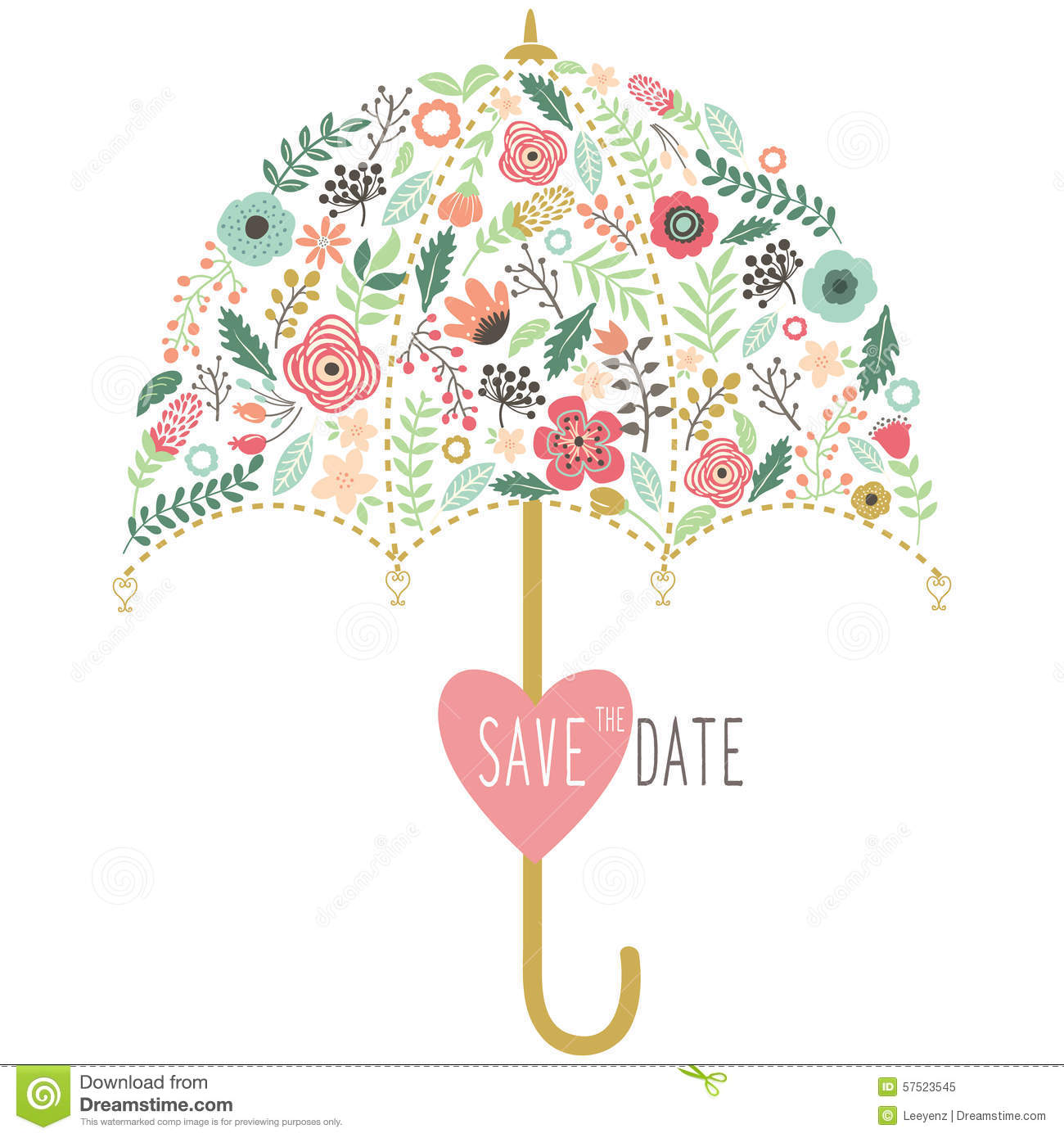 Flora Wedding Umbrella Elements Illustration De Vecteur