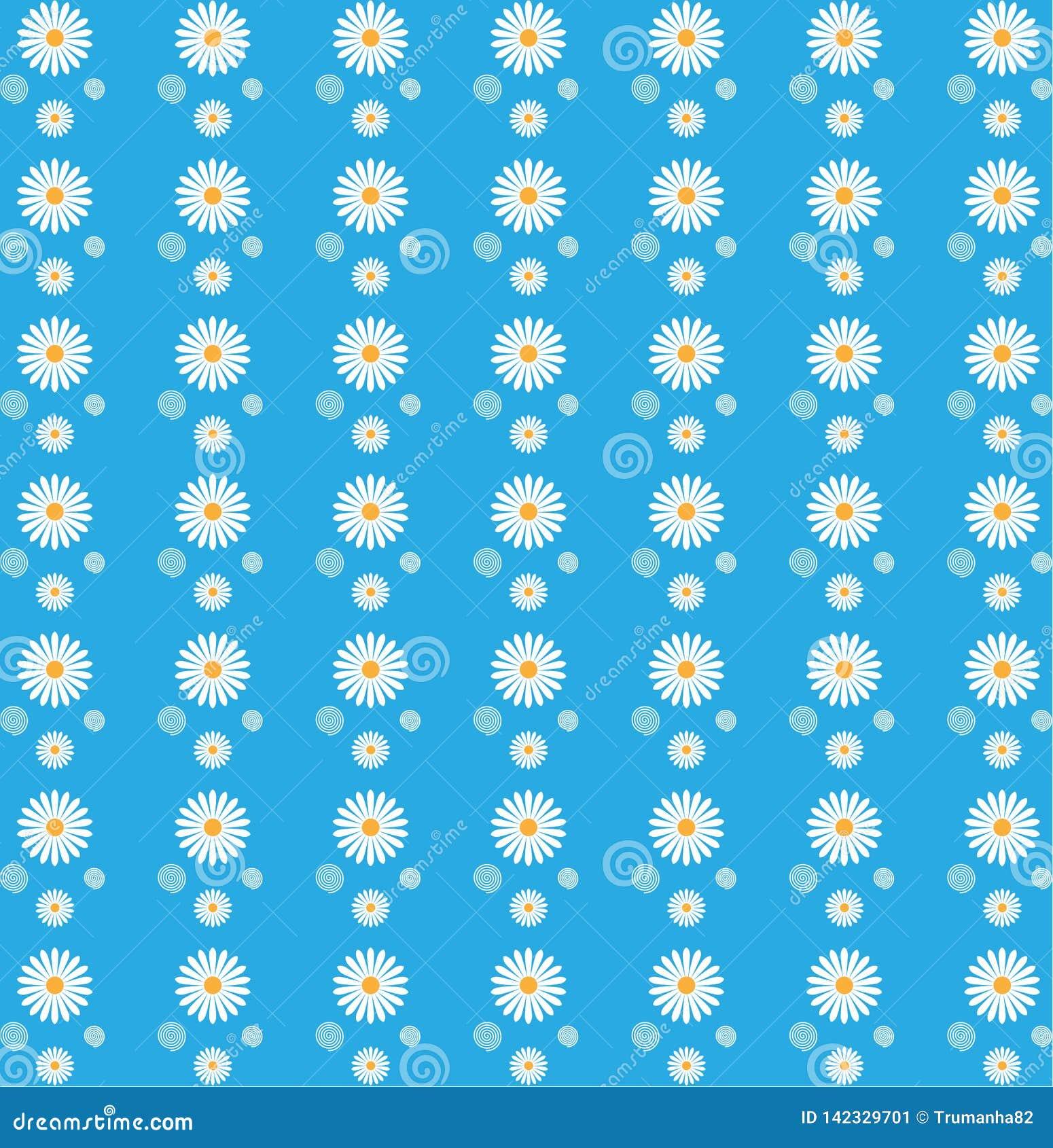 Floral άνευ ραφής σχέδιο των άσπρων μαργαριτών στο μπλε υπόβαθρο