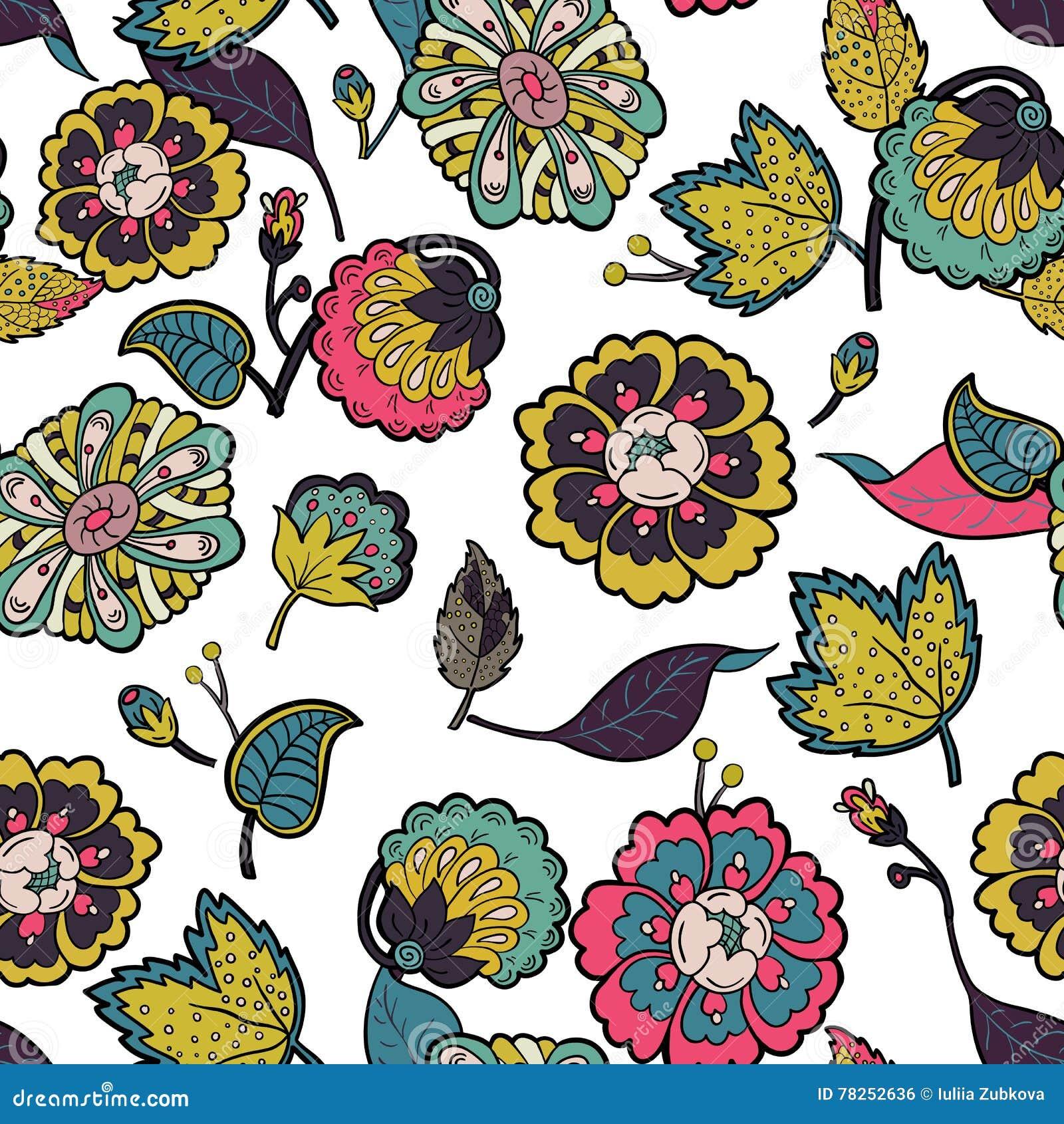 Floral άνευ ραφής ανασκόπησης Τα ζωηρόχρωμα λουλούδια και βγάζουν φύλλα