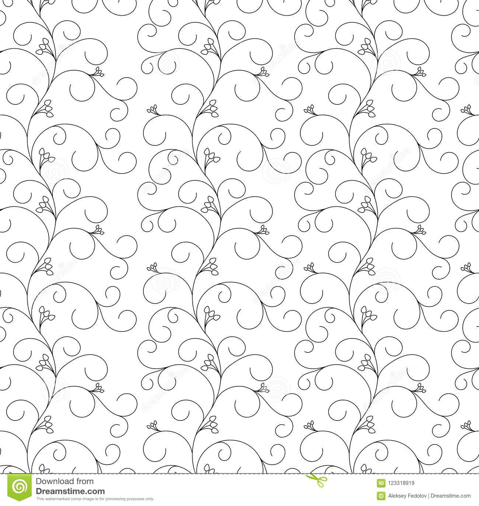 Floral άνευ ραφής σχέδιο, γκρίζες άμπελοι σε ένα άσπρο υπόβαθρο