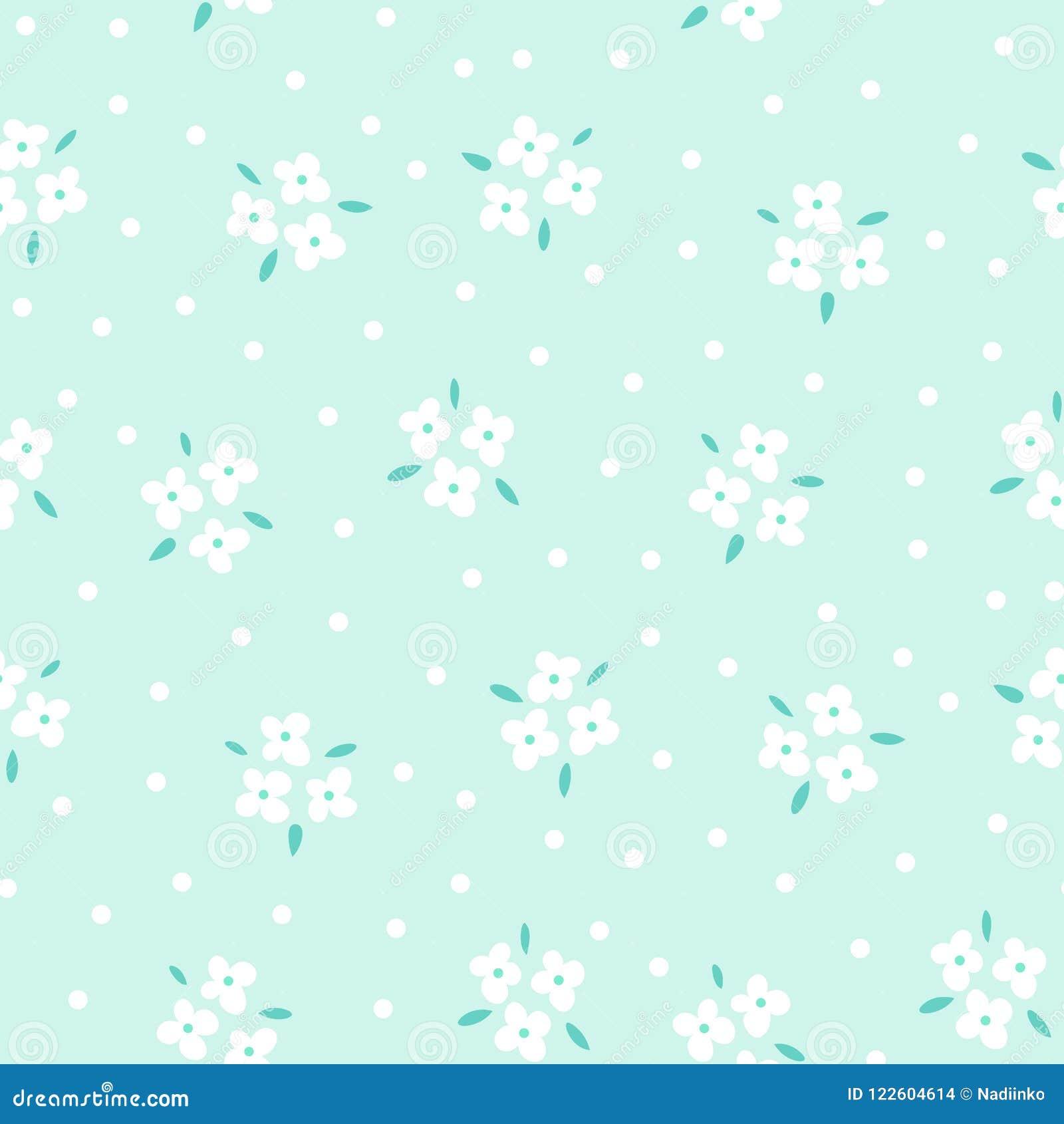 Floral άνευ ραφής σχέδιο με τα άσπρα λουλούδια στο μπλε υπόβαθρο Επαναλαμβανόμενο ελαφρύ σκηνικό, μαλακή υφαντική σύσταση έξυπνο