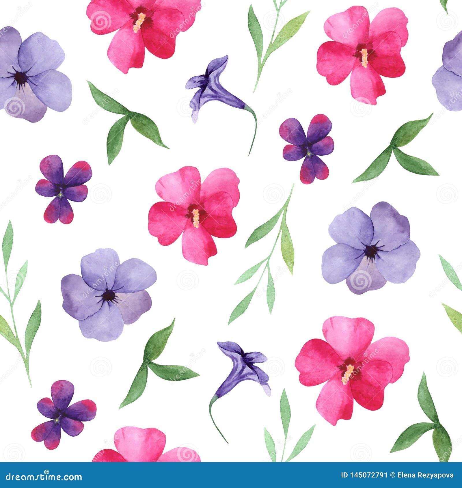 Floral άνευ ραφής σχέδιο Watercolor, ρόδινα και πορφυρά λουλούδια, φύλλα