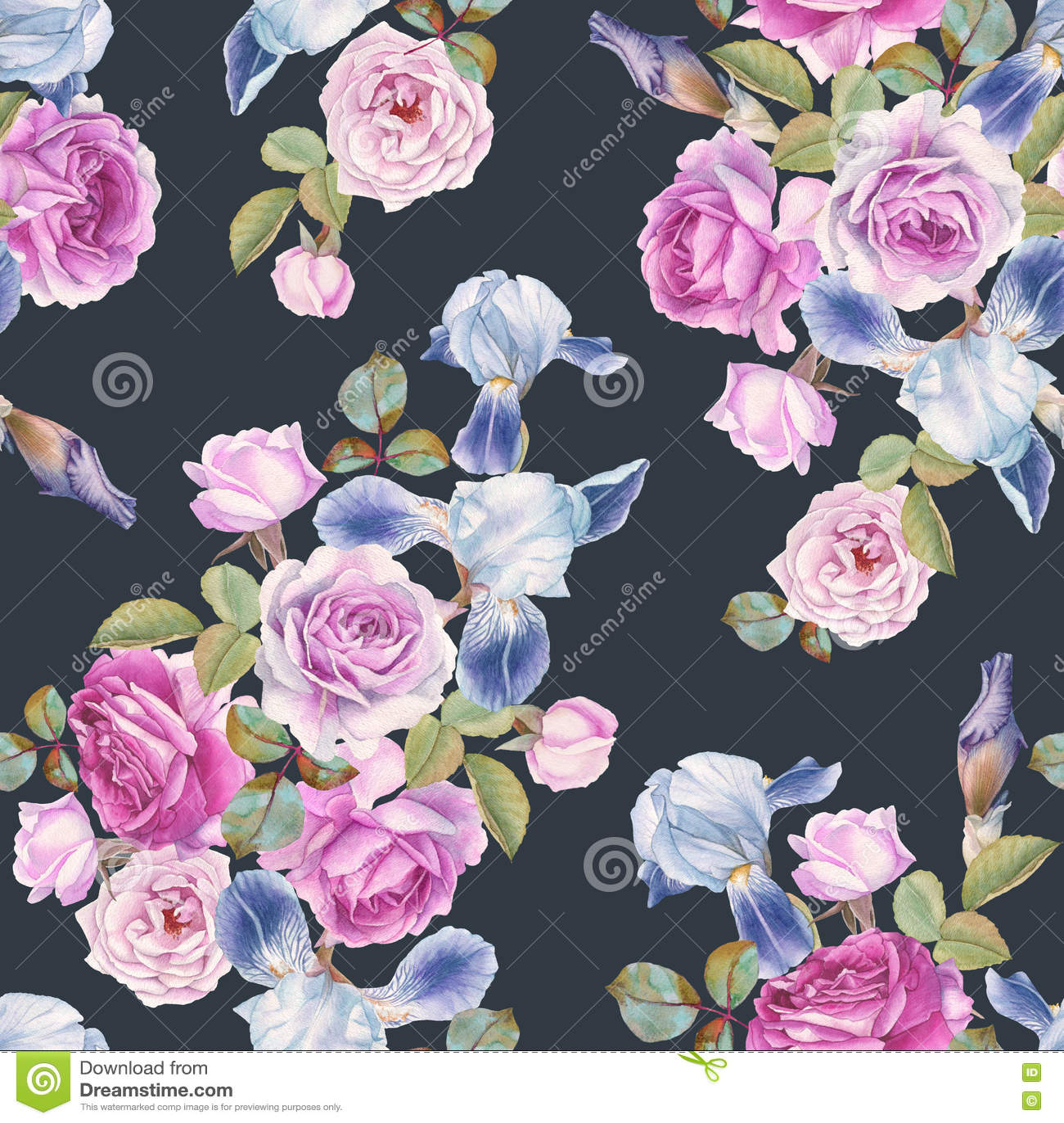 Floral άνευ ραφής σχέδιο με τα τριαντάφυλλα και τις ίριδες watercolor