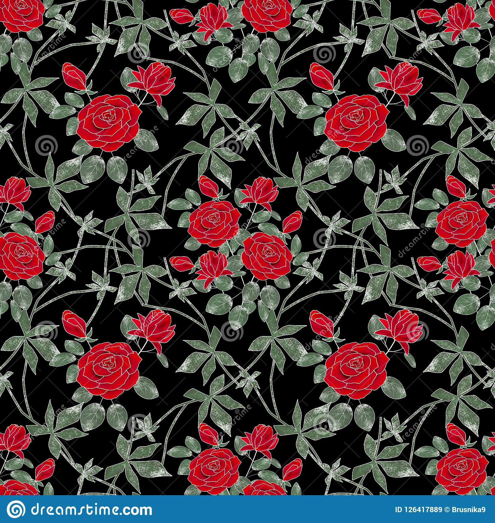 Floral αναδρομικός άνευ ραφής π&r Κόκκινα τριαντάφυλλα σε ένα μαύρο υπόβαθρο