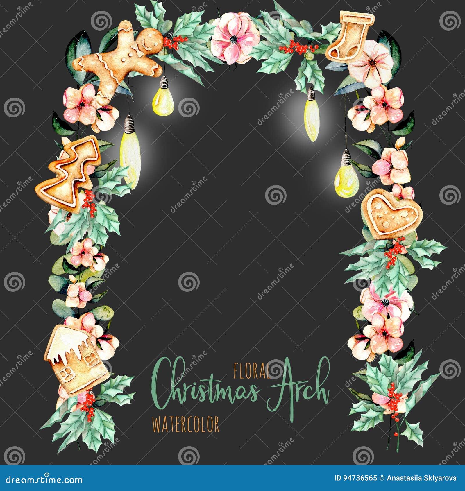 Floral αψίδα Χριστουγέννων Watercolor με την ένωση των λαμπτήρων για το σχέδιο διακοπών