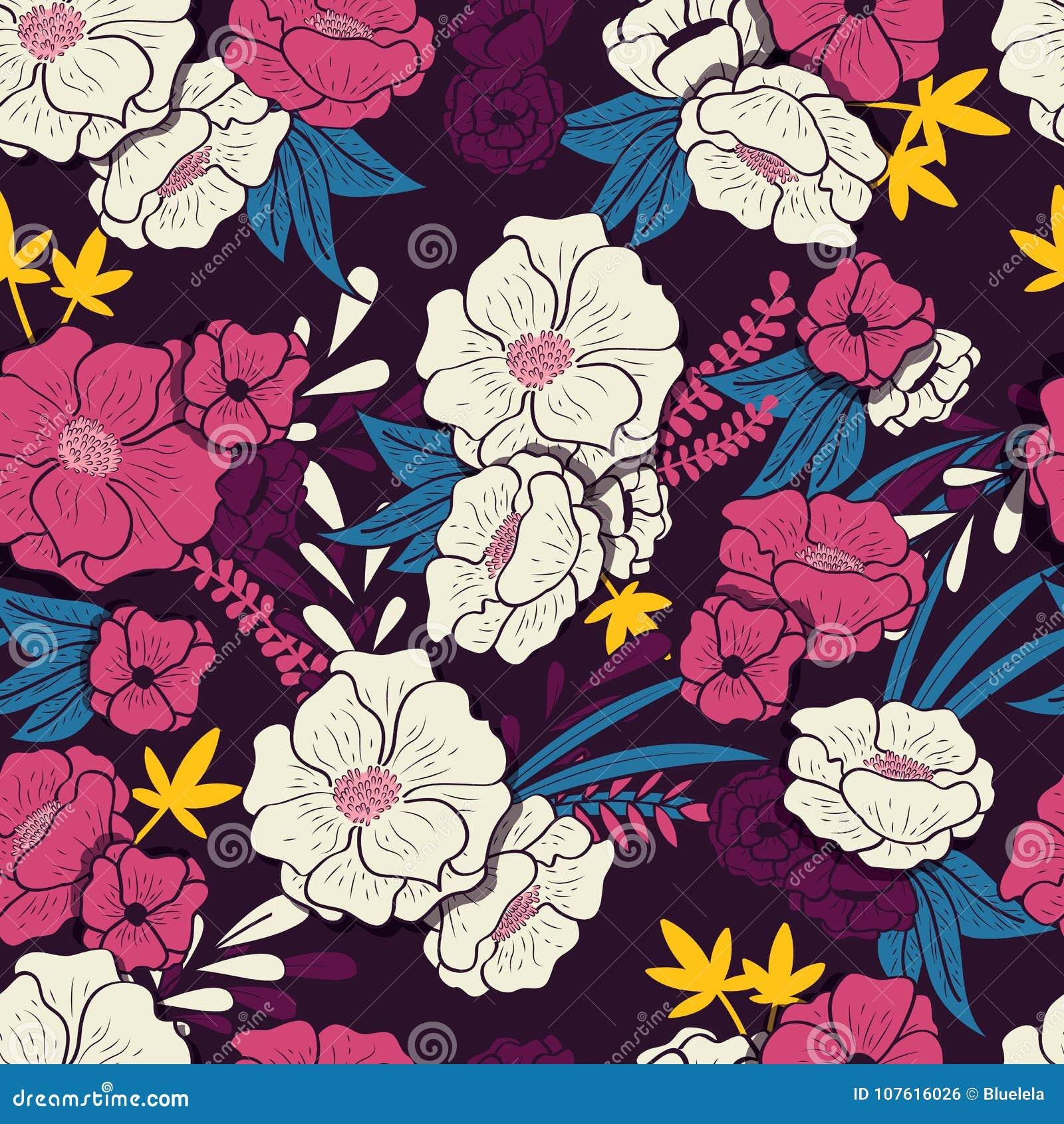 Floral ζούγκλα με το άνευ ραφής σχέδιο φιδιών, τα τροπικά λουλούδια και τα φύλλα, βοτανικό χέρι που σύρεται δονούμενο