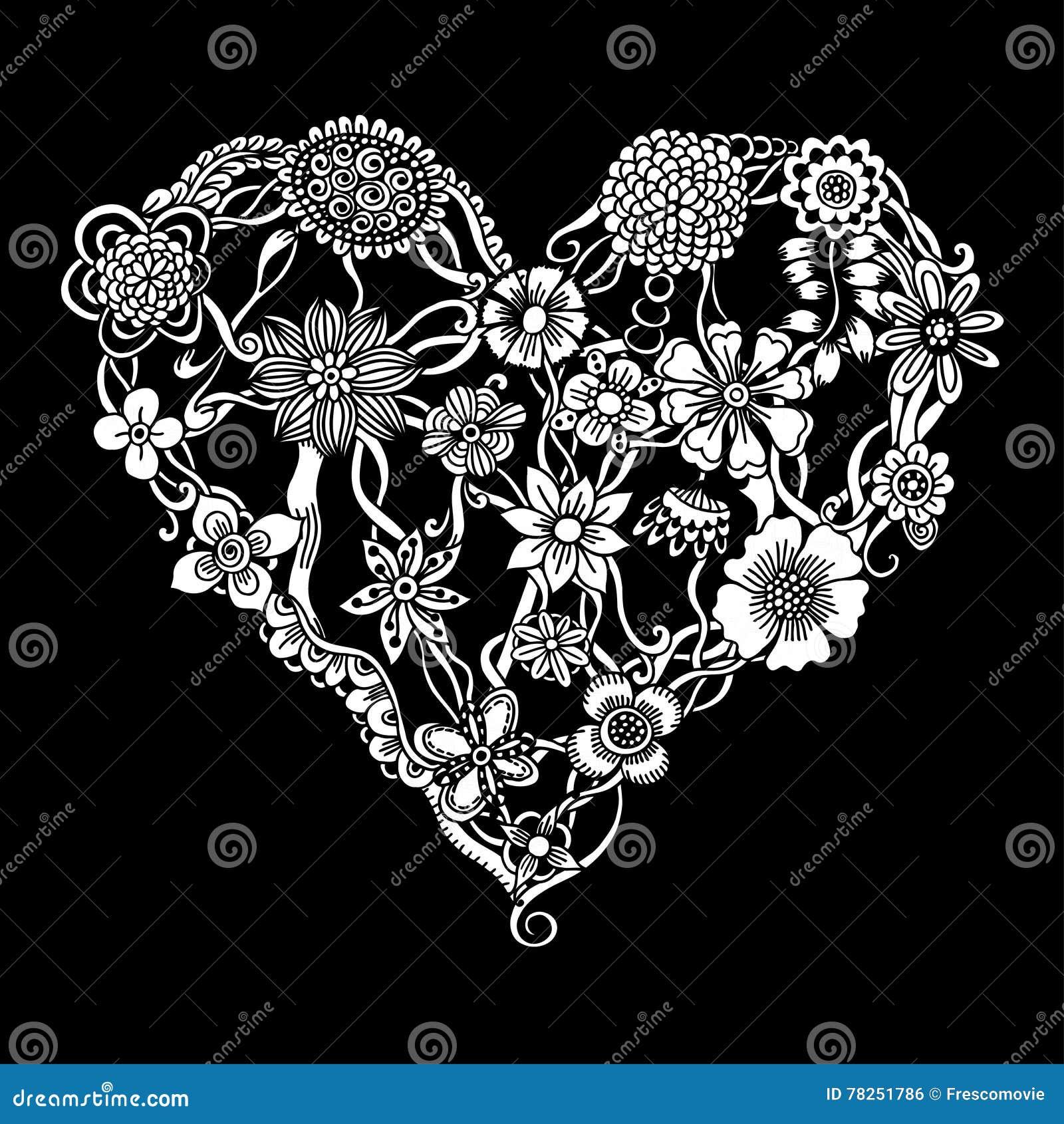 Floral καρδιά Doodle