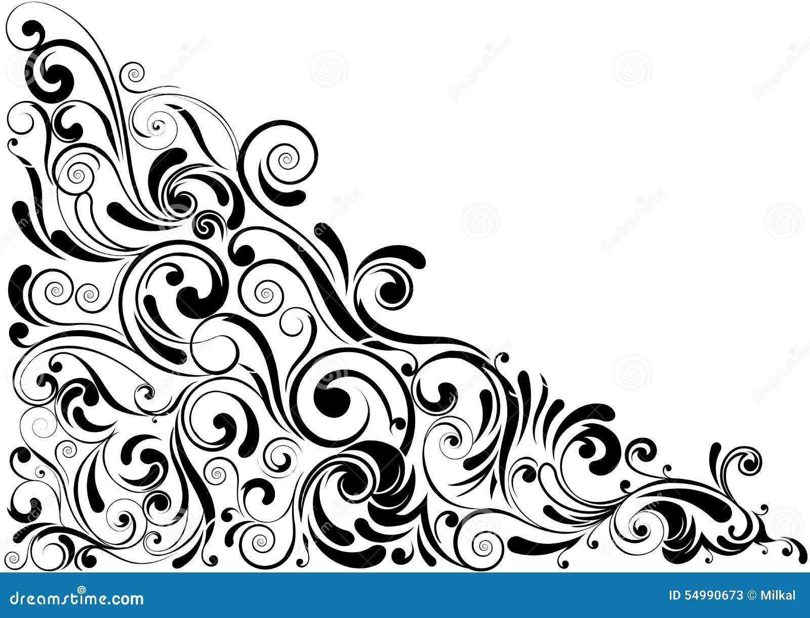 Floral μαύρη γωνία στροβίλου