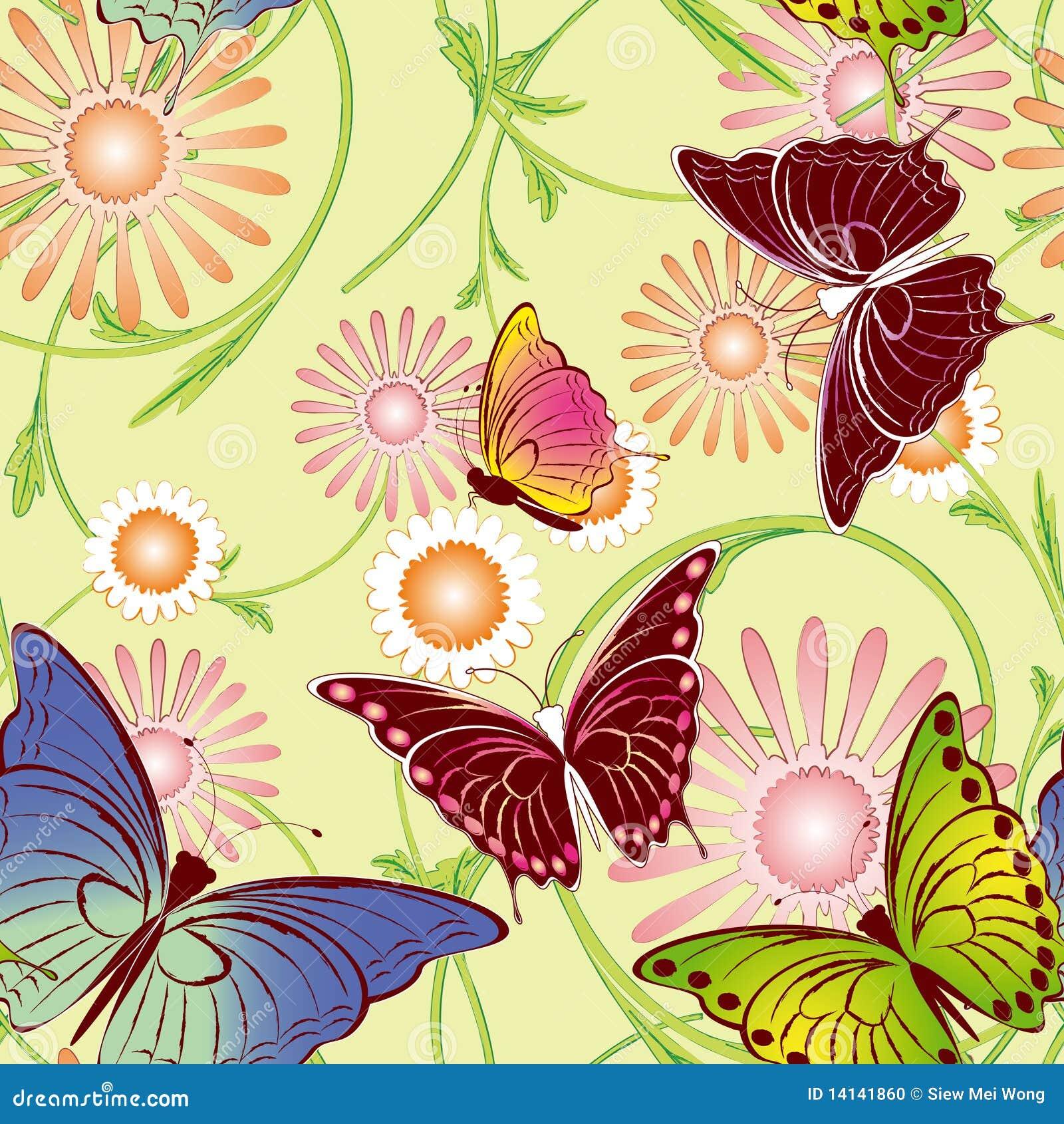 Floral πρότυπο πεταλούδων άνευ