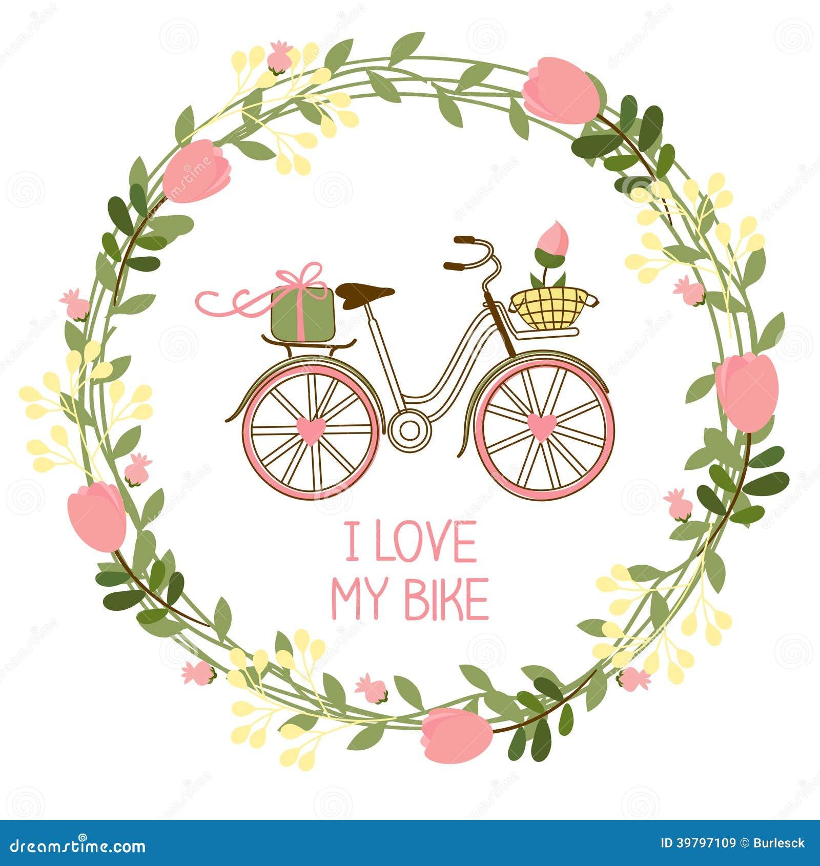 Floral στεφάνι και ποδήλατο
