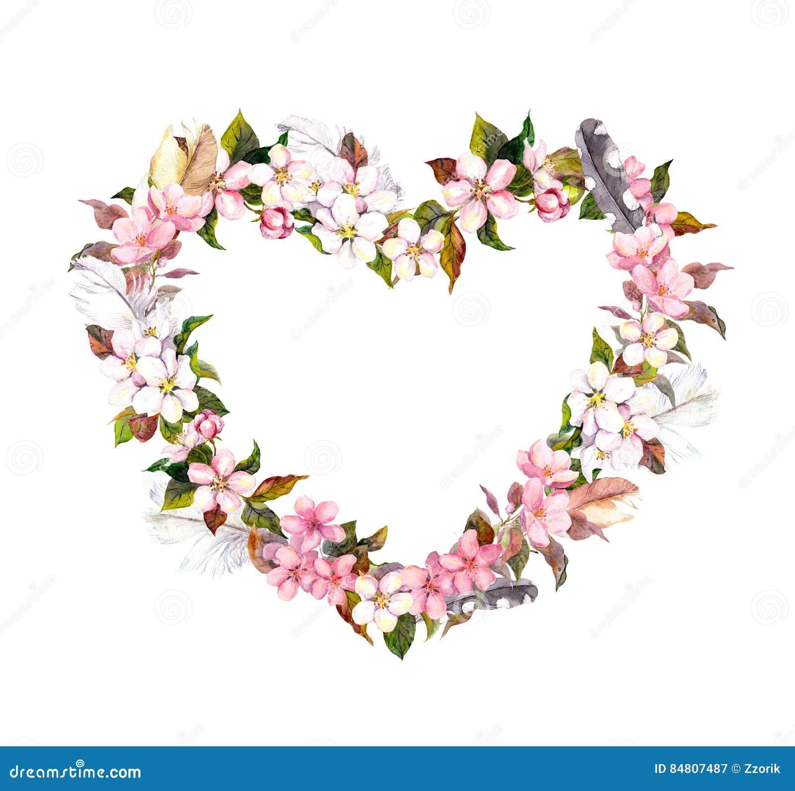 Floral στεφάνι - μορφή καρδιών Ρόδινα λουλούδια και φτερά Watercolor για την ημέρα βαλεντίνων, γάμος στο εκλεκτής ποιότητας ύφος