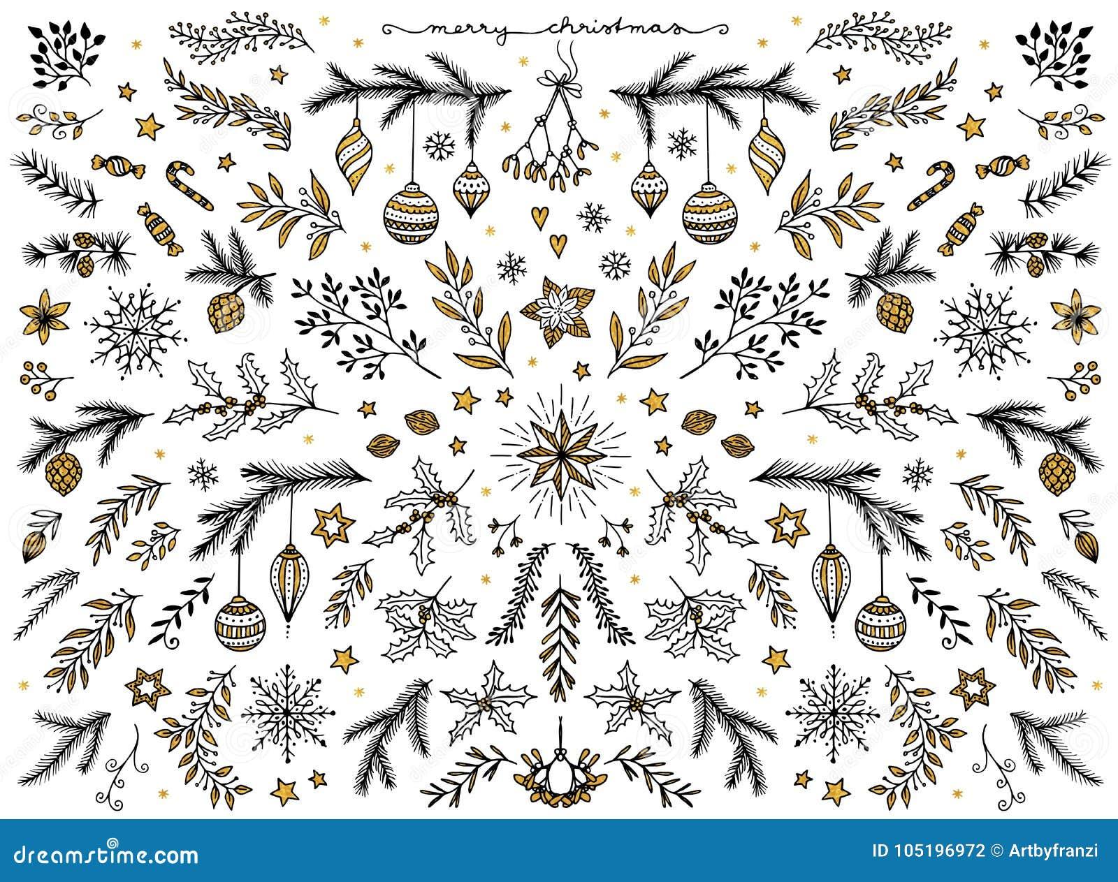 Floral στοιχεία σχεδίου για τα Χριστούγεννα, με το χρυσό φύλλο αλουμινίου