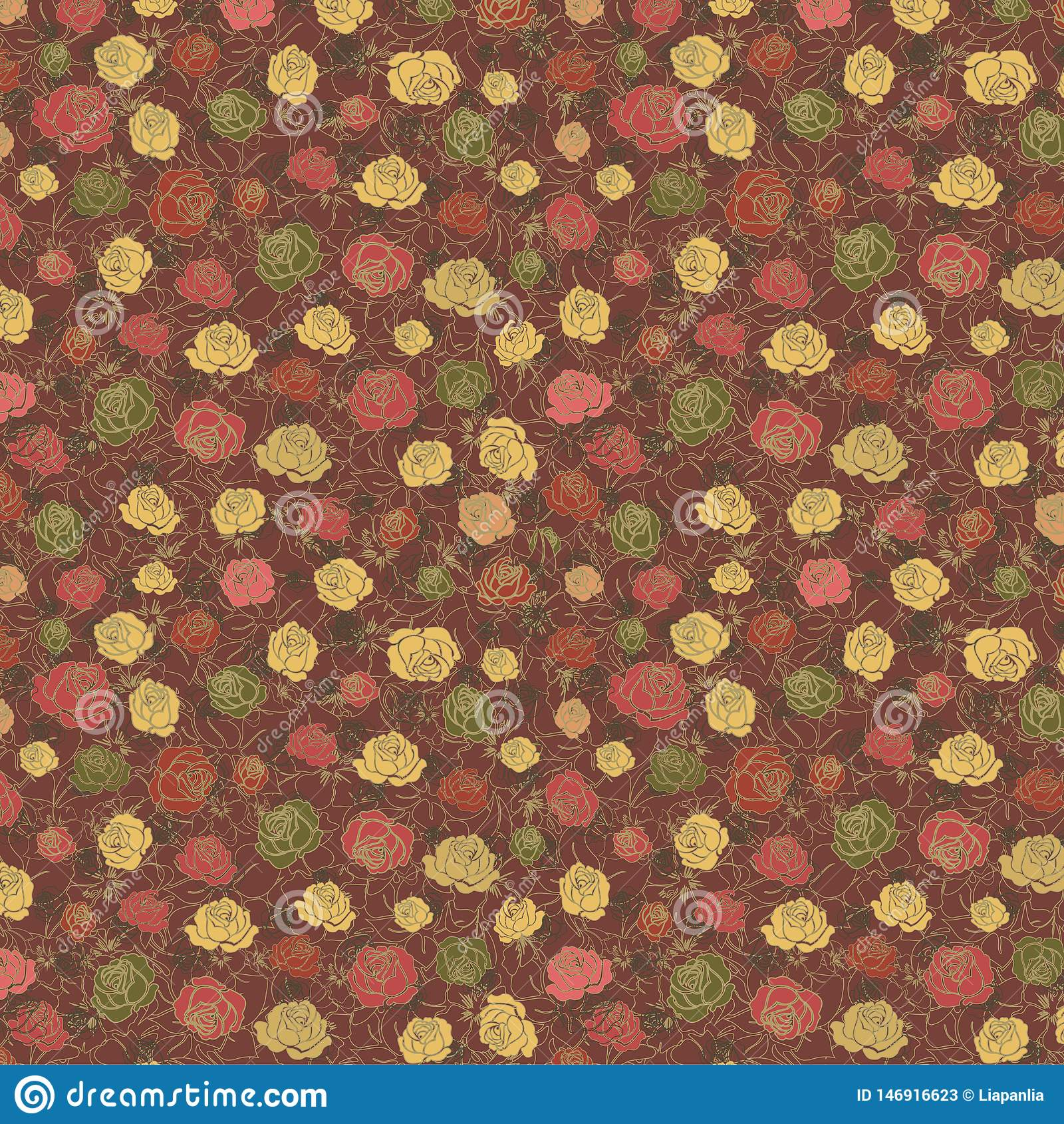Floral σχέδιο με τα χρωματισμένα τριαντάφυλλα