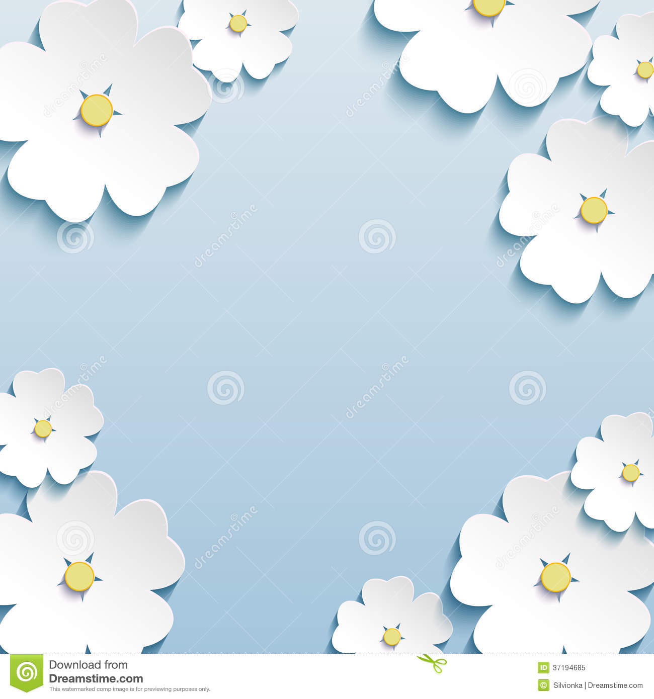 Floral Abstract Background, 3d Flowers Cherry Tree Royalty ...