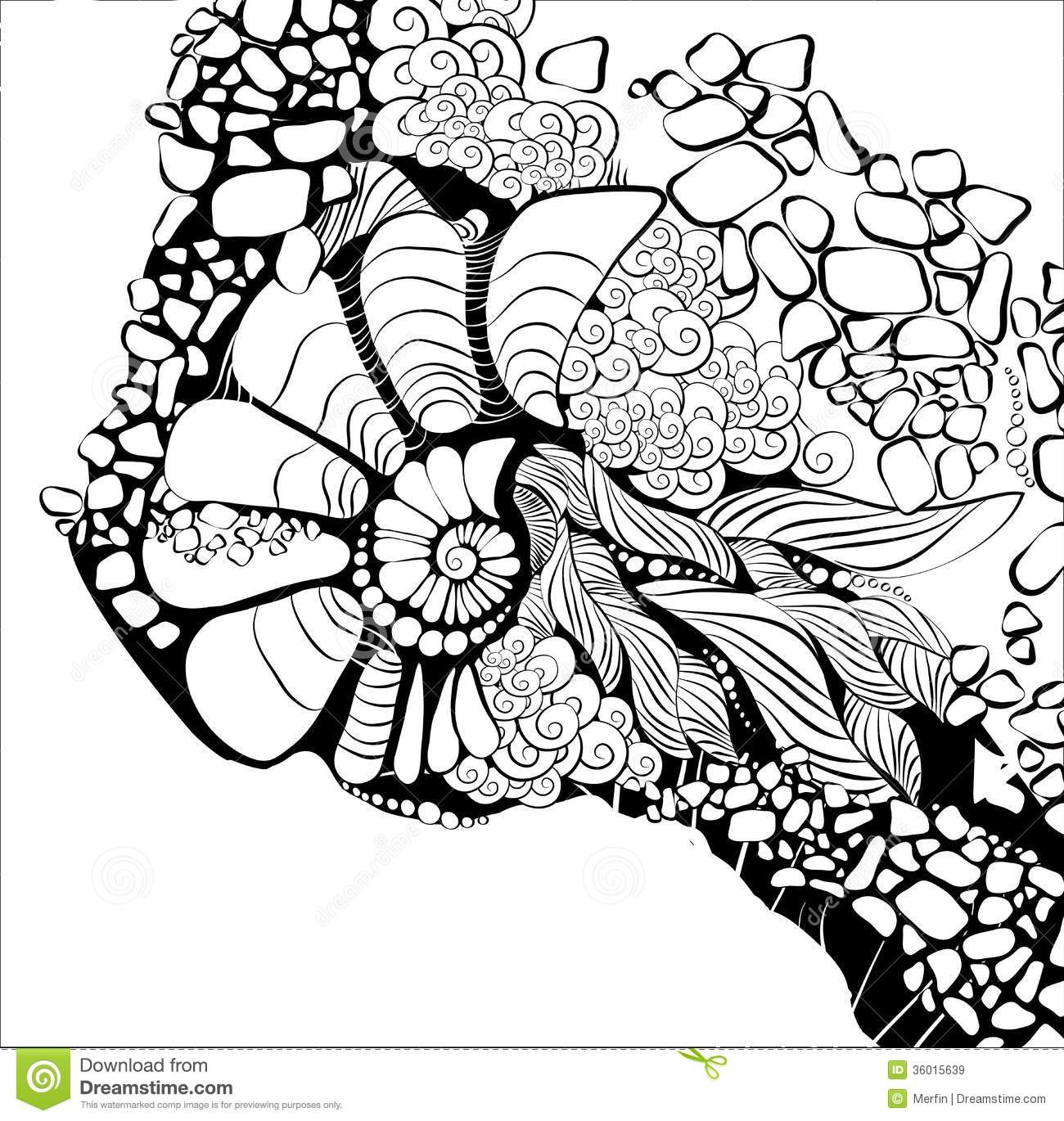 Xfig Line Drawing : Floral abstract background design template stock