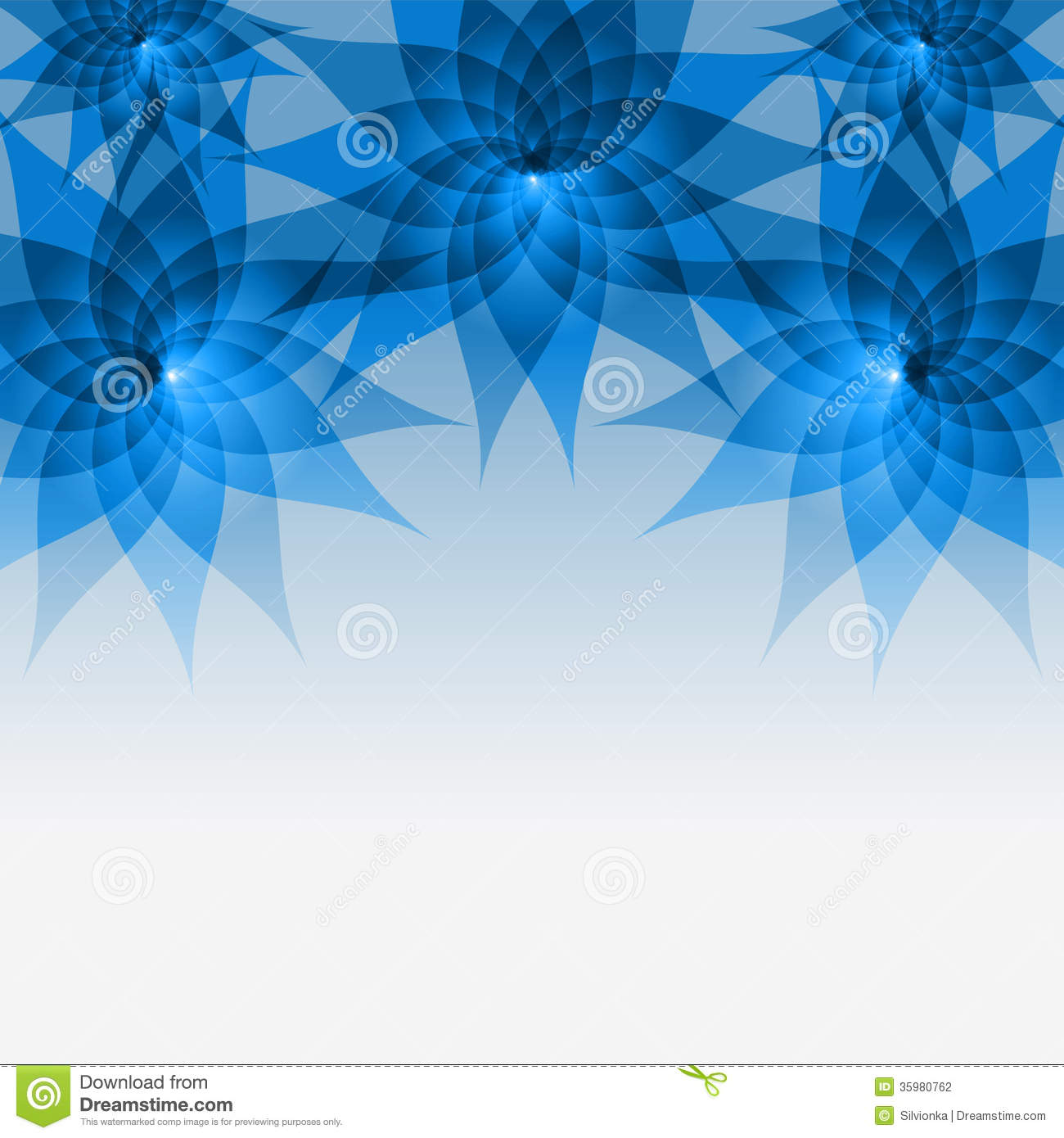 Floral Abstract Blue Background With Flowers Stock ...
