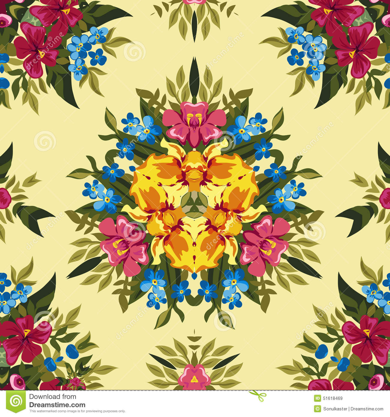 Floral Abstract Boho Or Hippie Seamless Pattern Stock