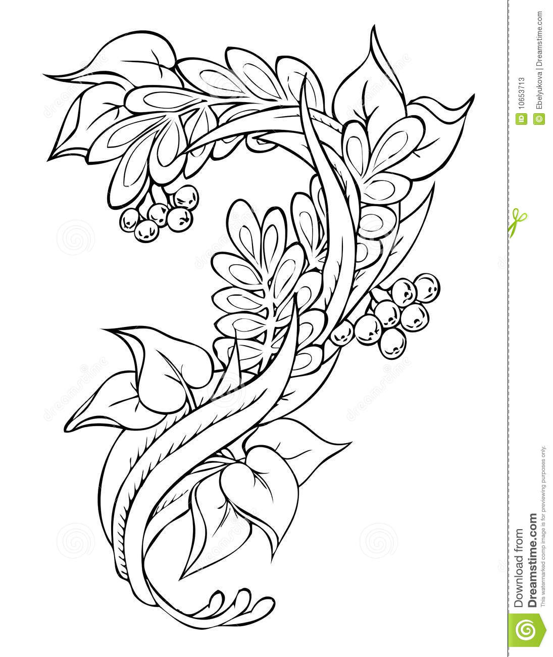 Drawing Lines Freehand : Floral abstract freehand drawing stock vector