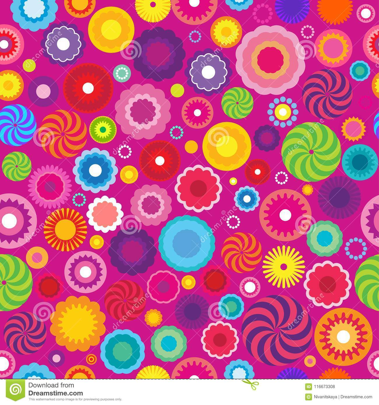 Floral Abstract Seamless Pattern. Geometric Shapes And Colors On A ...
