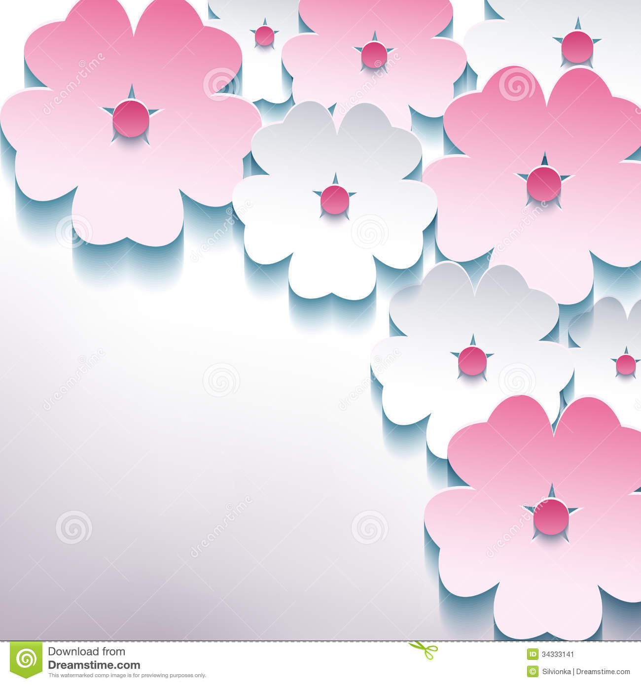 floral abstract stylish background with 3d flower stock