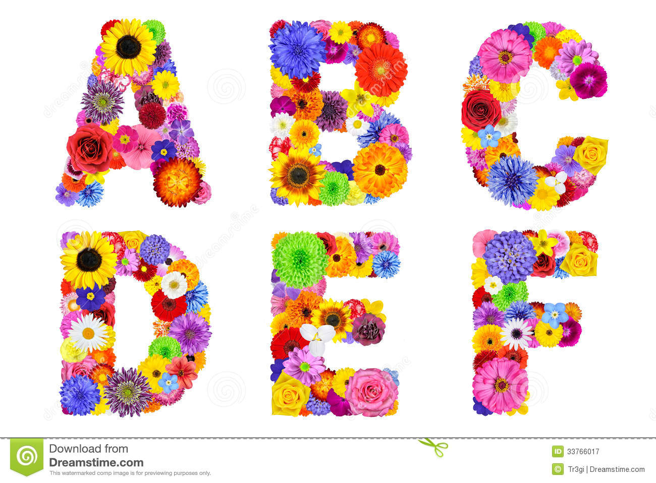 Floral alphabet isolated on white letters a b c d e - Lettres alphabet originales ...