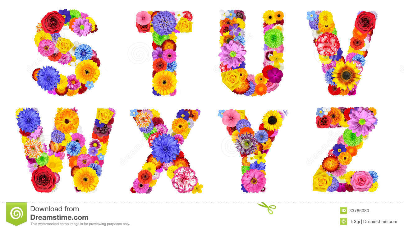 Floral alphabet isolated on white letters s t u v w x y z stock photo image 33766080 - Lettre alphabet original ...