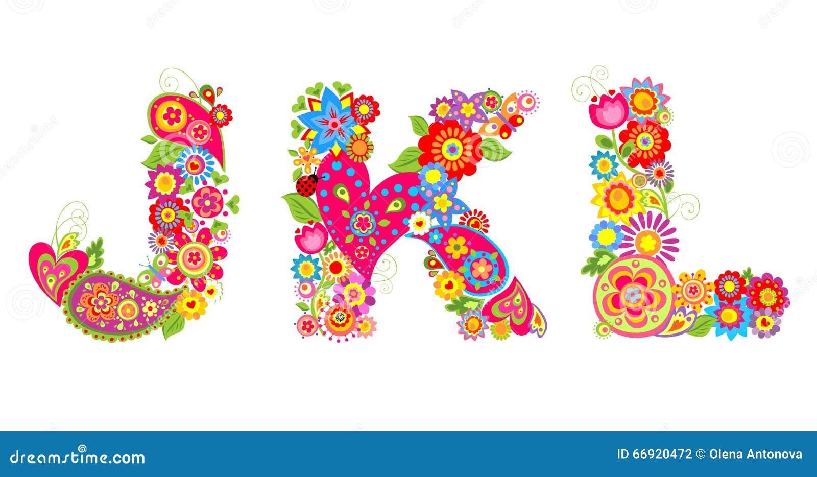 floral alphabet with letter j k l stock vector image 66920472. Black Bedroom Furniture Sets. Home Design Ideas