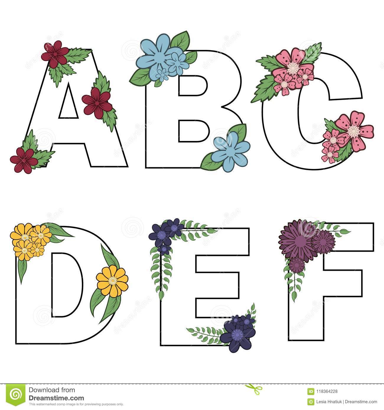 Floral Alphabet Vector Isolated Letters With Flowers