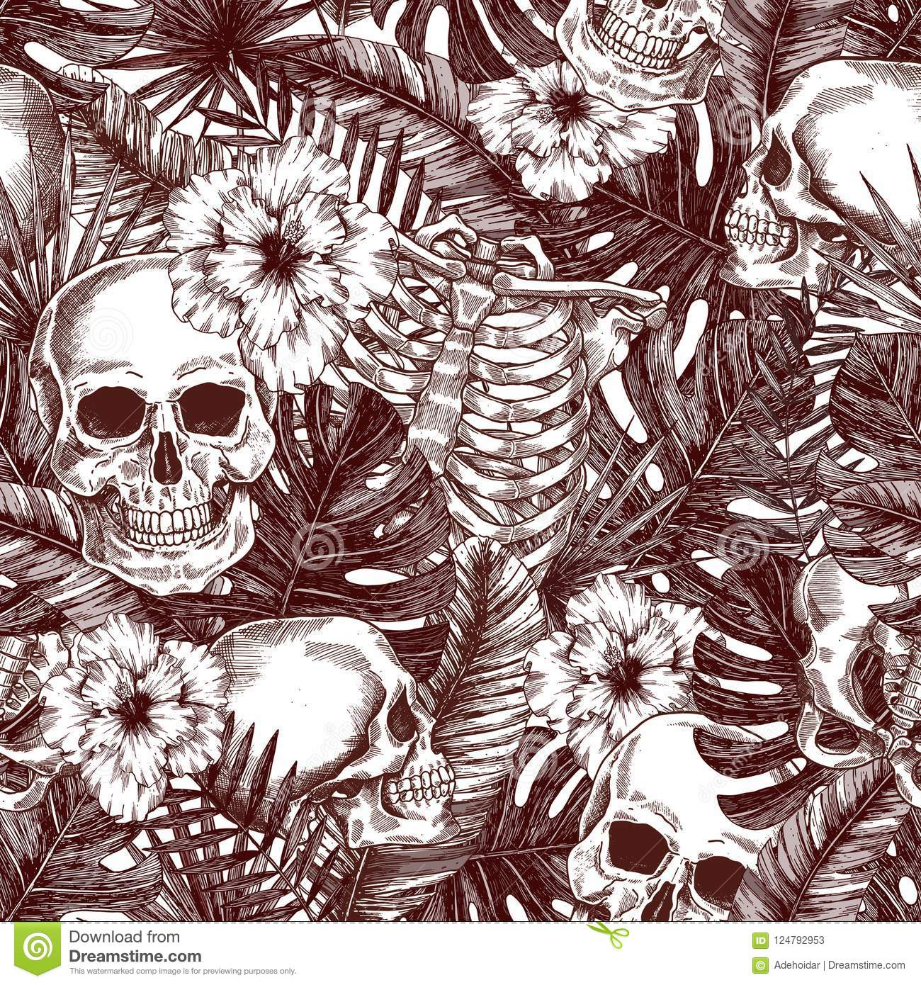 Floral anatomy. Halloween tropical vintage seamless pattern. Creppy jungle skull background.