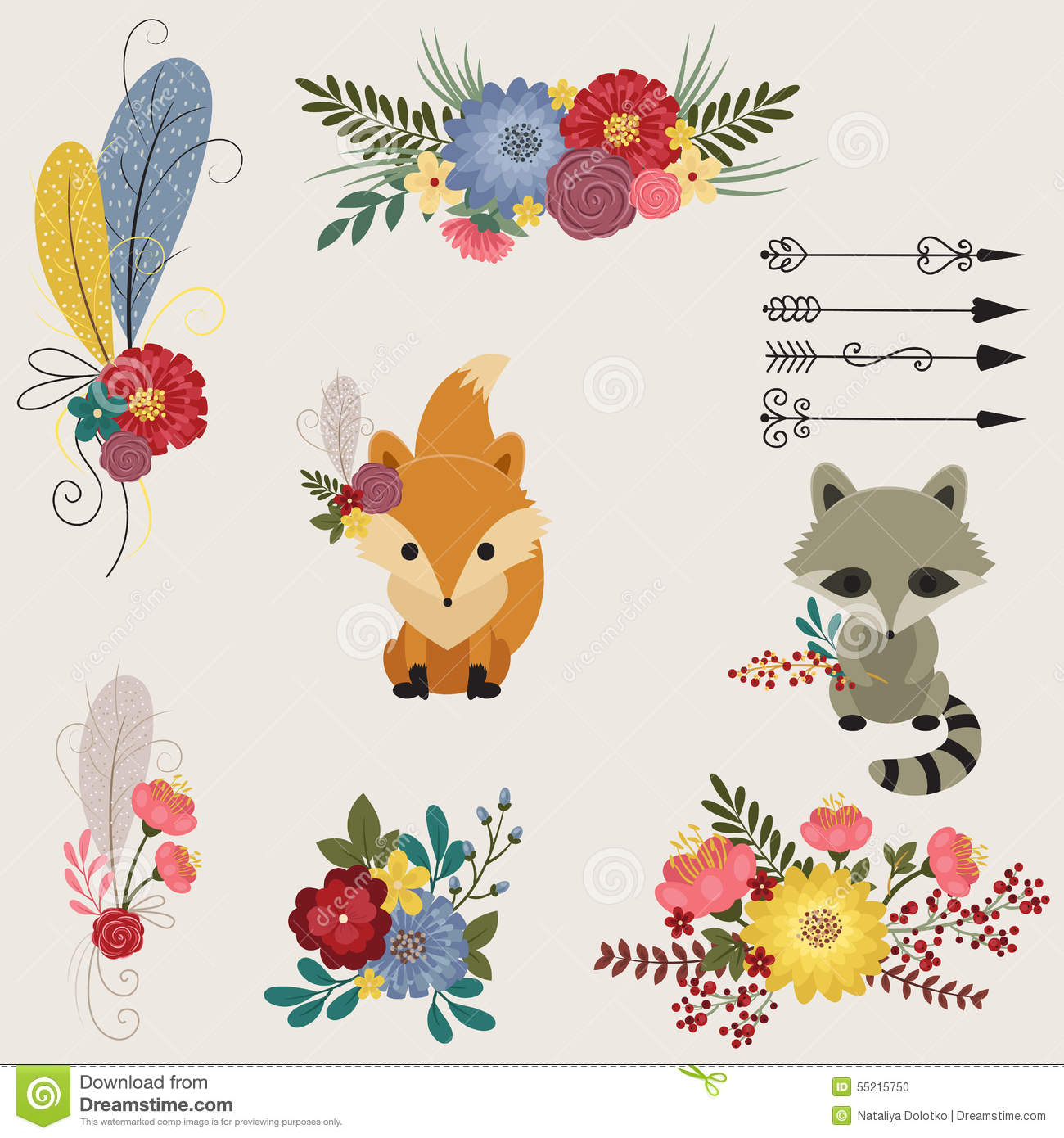 Floral and animals icons stock vector  Illustration of leaf