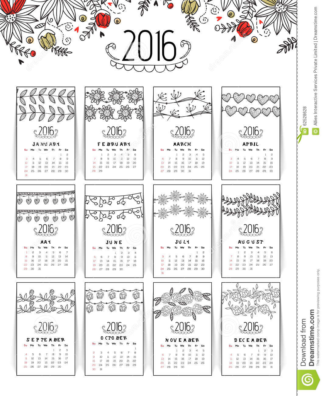 Beautiful Calendar Design : Floral annual calendar for new year stock photo