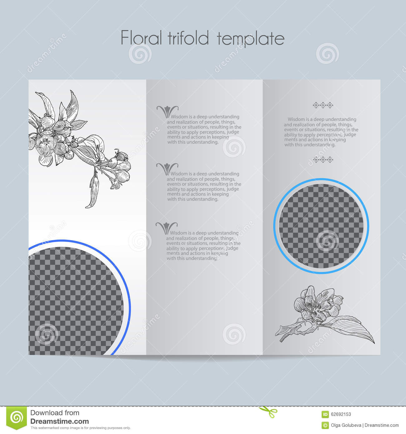 mac brochure template - floral apple template tri fold mock up stock vector