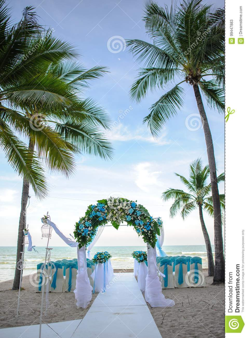 Flower Altar Decoration For Wedding On The Beach Stock Image Image