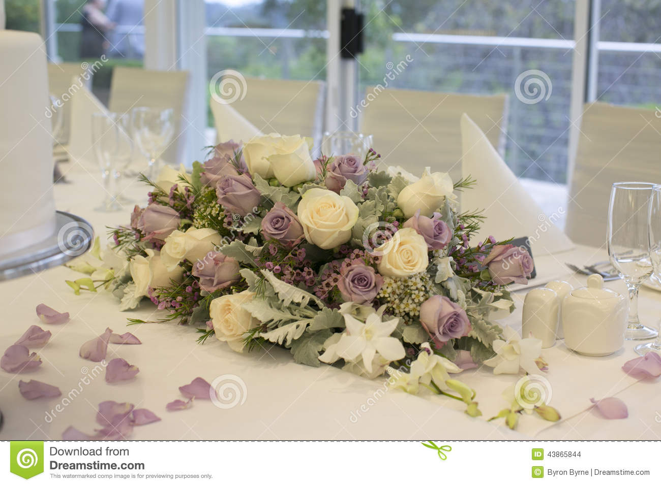 Floral Arrangement On Bridal Table Stock Photo