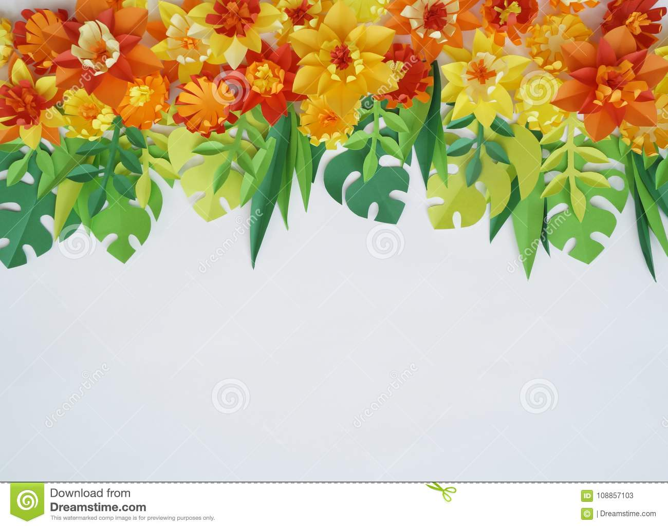 Floral Arrangement Of Paper Flowers On A White Backgrounde View
