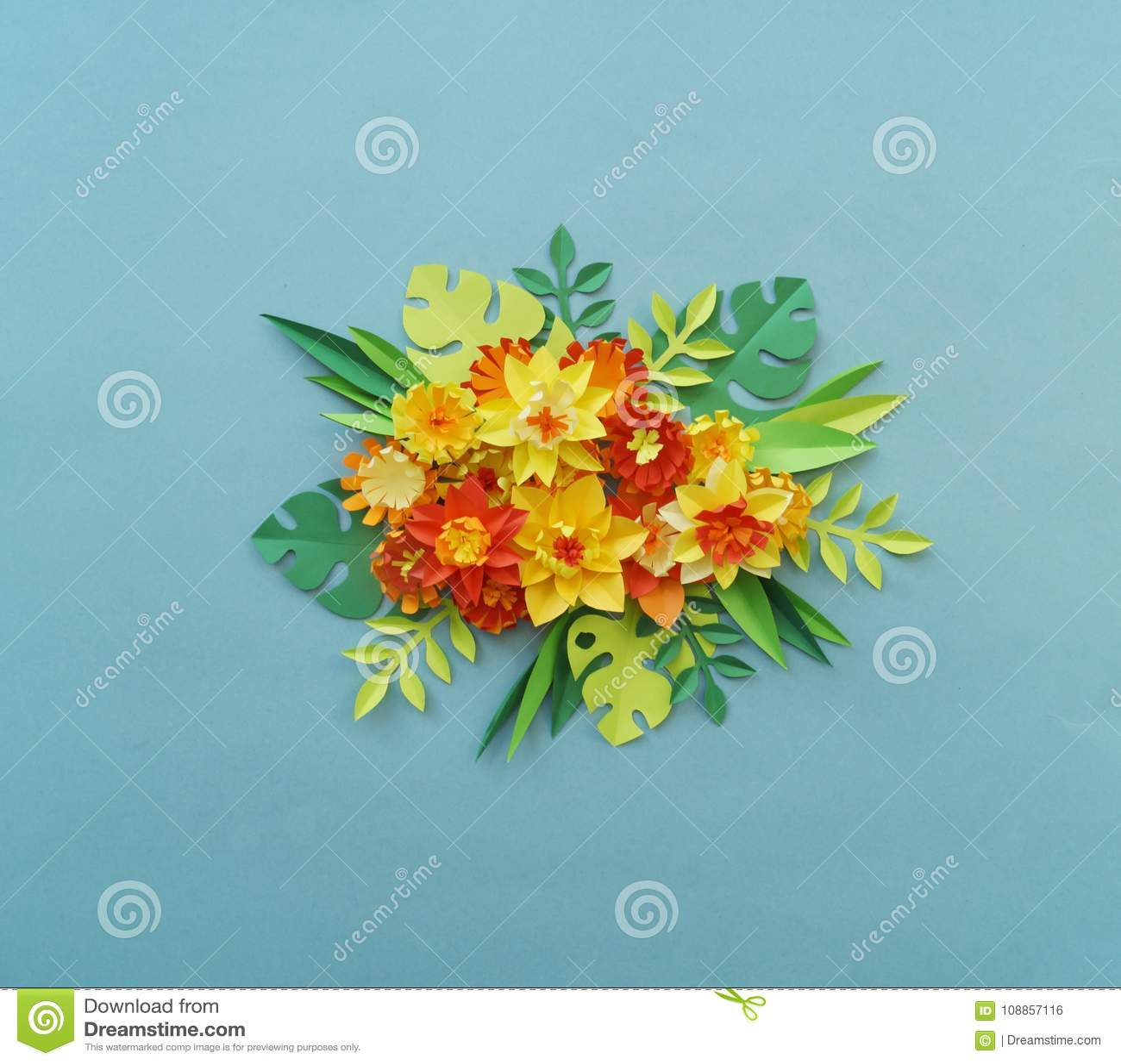 Floral arrangement of paper flowers on a blue background tropical floral arrangement of paper flowers on a blue background tropical flowers and leaves redyellowgreenorange and blue handmade flower mightylinksfo