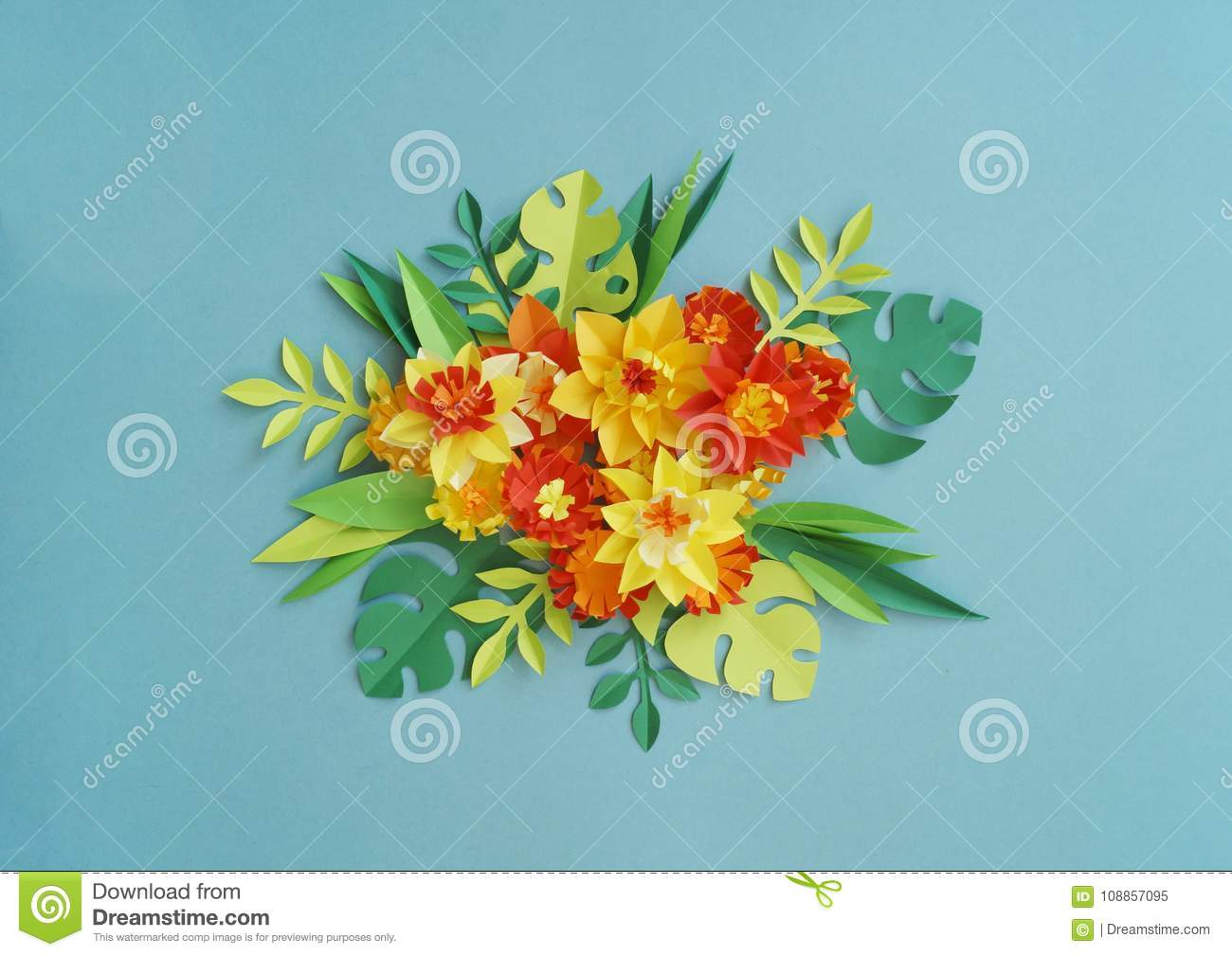 Floral Arrangement Of Paper Flowers On A Blue Background Tropical