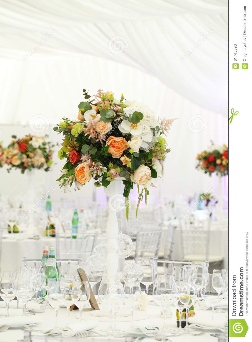 Floral Arrangement Wedding Tent White Canopy Stock Photo - Image of ...