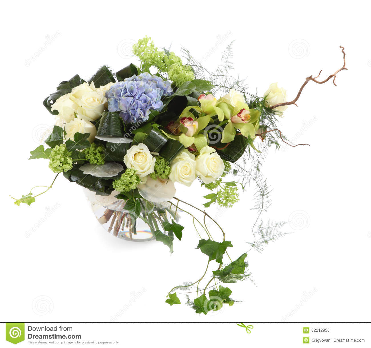 Floral Arrangement Of White Roses Ivy And Orchids Stock