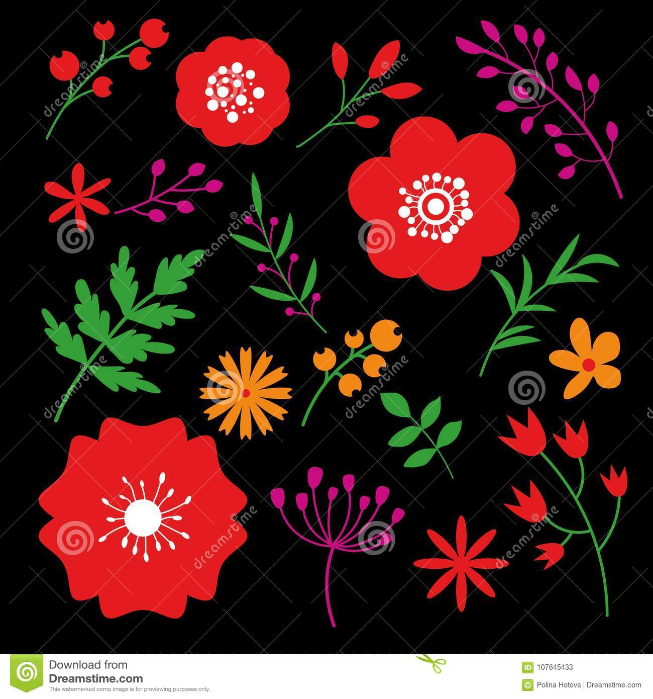 Floral Art Design On Black Background Beautiful Flowers Decorative