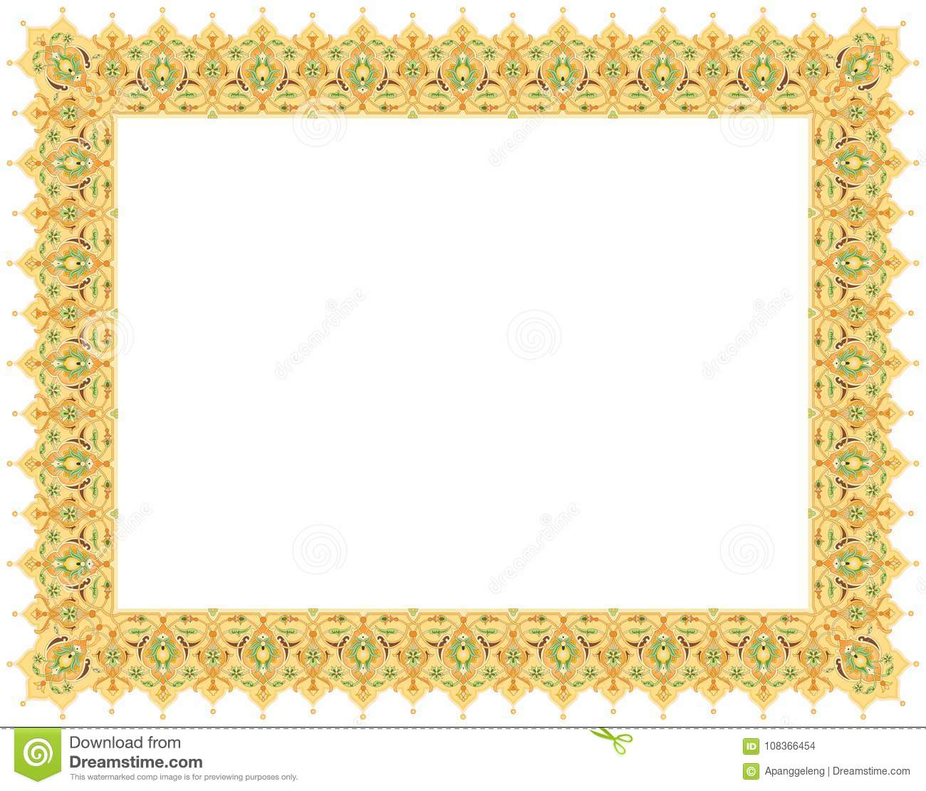 Floral Art Ornament Border In Pale Colour Stock Vector