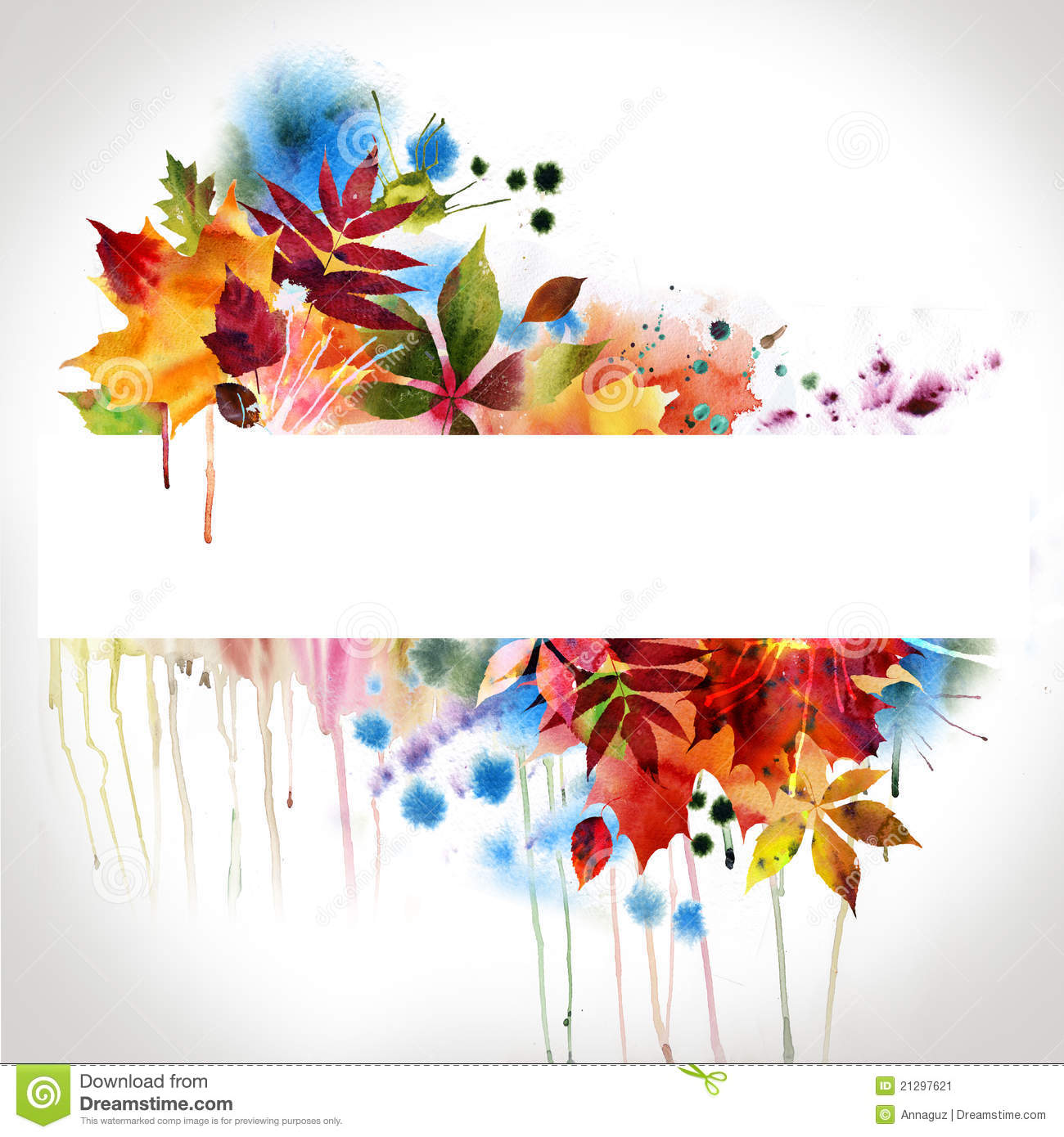 floral autumn design watercolor painting stock image