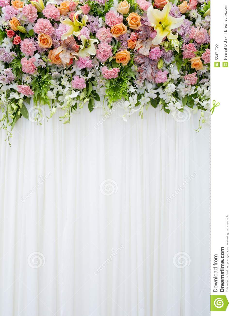 Floral Backdrop In Cozy Room At The Wedding Stock Photo