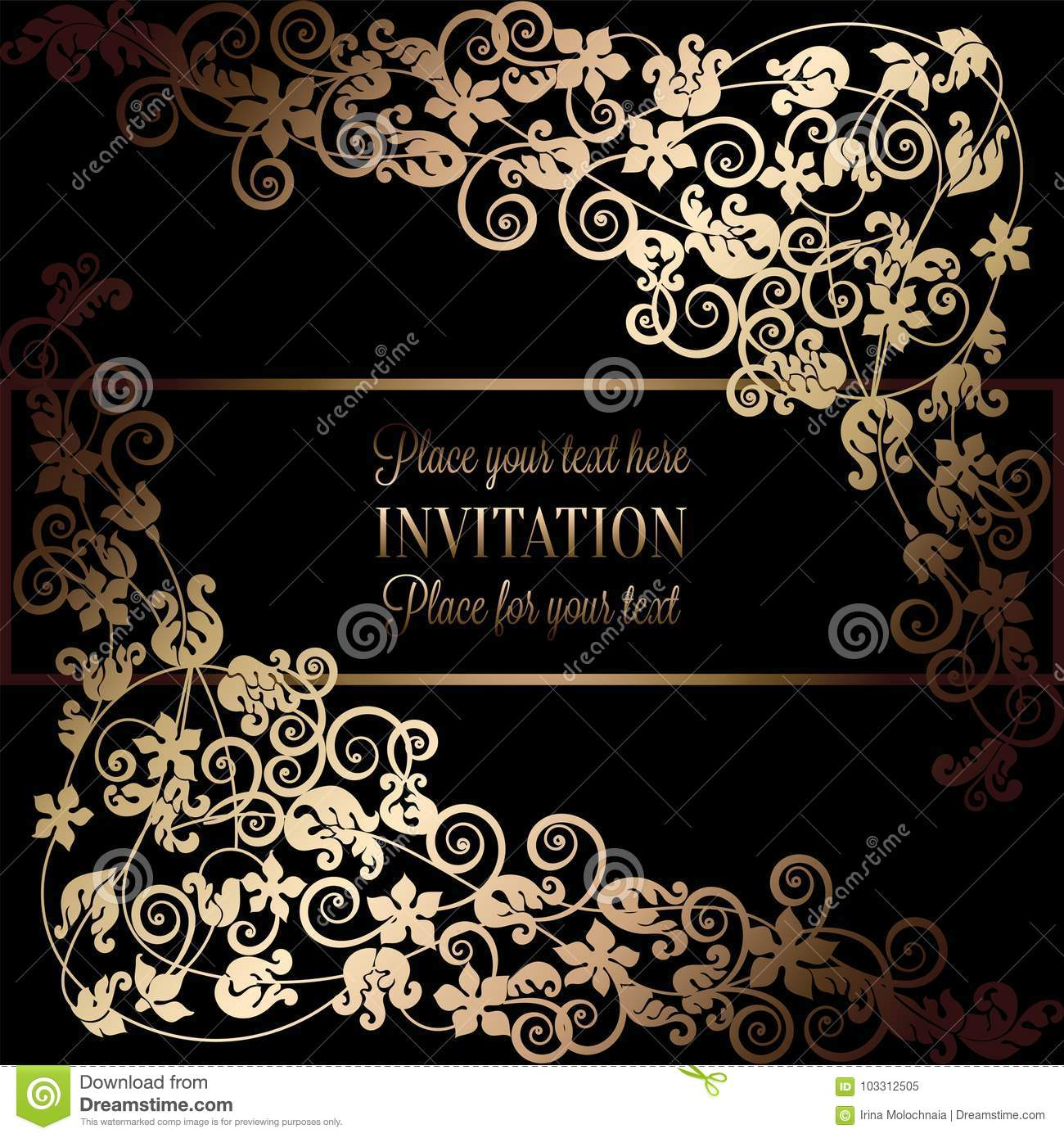 Floral Background With Antique Luxury Black And Gold Vintage